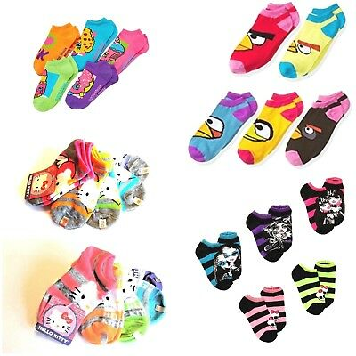 69610deb301 Girl s 5-Pairs No-Show Socks Angry Bird Monster High Shopkins Hello Kitty  NWT