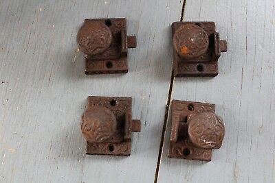 4 Antique Victorian Cast Iron  Cabinet Cupboard Door Latch Lock Hardware