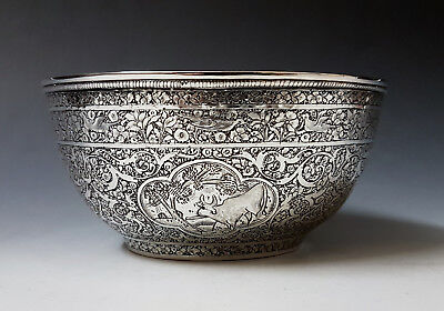 Beautiful Antique Middle Eastern Persian Islamic Solid Silver Bowl By Jafar 178g