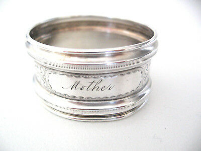 Attractive very early sterling silver napkin ring engraved MOTHER.