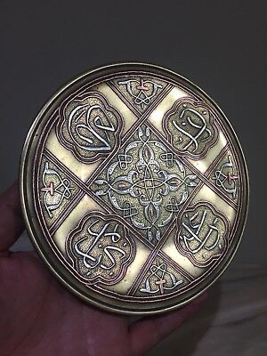 Antique Persian Islamic Damascus Middle Eastern Silver Inlaid Brass Plate