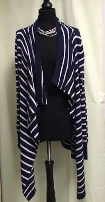 JOJO MAMAN BEBE MATERNITY UK/M Cotton Blend Navy Blue White Stripe Cardigan