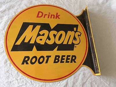 Vintage Drink Mason's Root Beer Lg. 2 Sided Soda Flange Advertising Sign