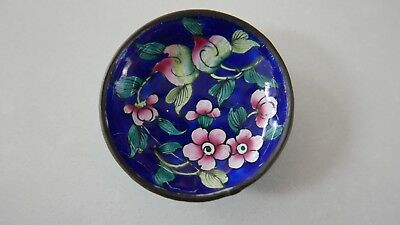 Antique Chinese Cloisonné Pin Tray With Hand Painted Flowers