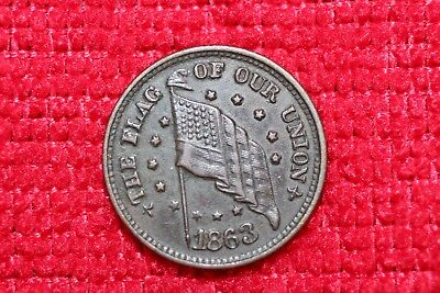 1863 The Flag Of Our Union Shoot Him On The Spot Dix Patriotic Civil War Token