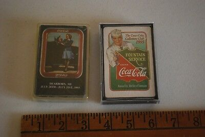 2 Decks Of Coke Playing Cards From Conventions 1993 1995 Collectors Club Sealed