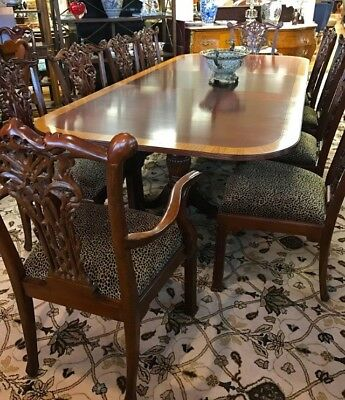 Magnificent Antique Chippendale Mahogany Dining Room Set Table & 10 Chairs