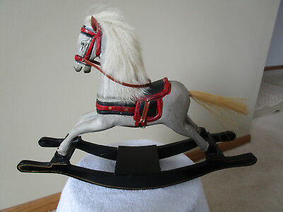 Vintage Style Toy Rocking Horse--Carved Wood, Detailed