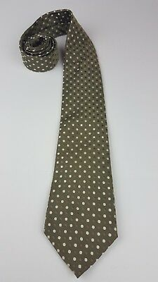 Geoffrey Beene Olive Colored Silk Necktie Tie With Multi Color Geometric  Circles 5287f7582