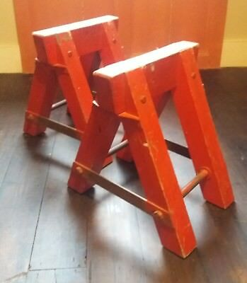 Antique French Industrial Work Trestles Original Painted Red Wood and Iron