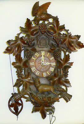 FANTASTIC CARVED WOODEN BLACK FOREST CUCKOO CLOCK & weights & pendulum