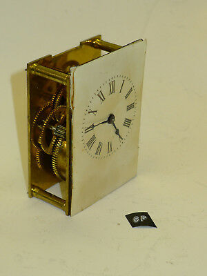 6p) French Vintage 8-day mantel carriage clock MOVEMENT, DIAL & HANDS for PARTS