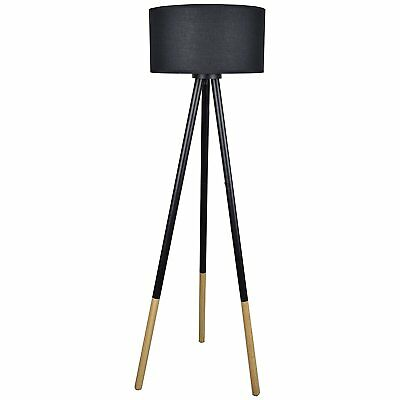 """Light Accents Tripod Floor Lamp 46.25"""" Tall with Wood and Metal Base and Linen -"""