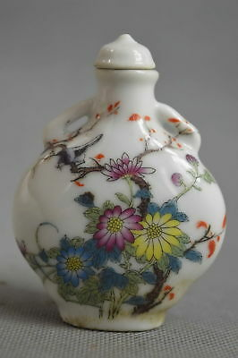 Collectable Handwork Decor Porcelain Paint Beauty Flwoer Lucky Rare Snuff Bottle