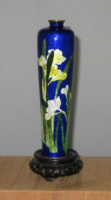 Antique 19c Japanese Ginbari Cloisonne Silver Wire Floral Design - Signed