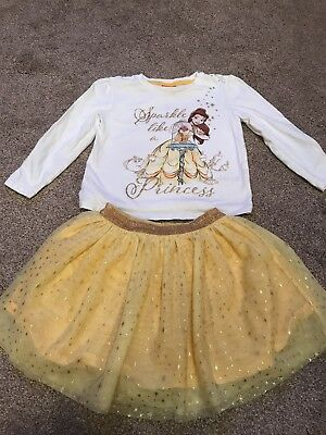 Disney Princess Belle TuTu Skirt And Top Set / Outfit 3-4 Years