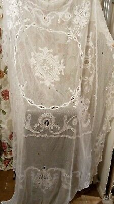 Antique Tulle Lace Applique Curtain Bedspread Panel C.1900 Victorian white
