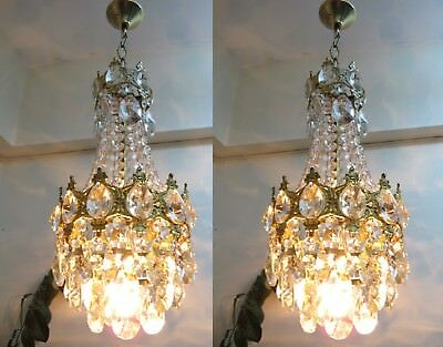 PAIR OF Antique Vintage French Basket Style Crystal Chandelier Lamp 1940's.9 in