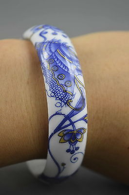 Collectable Handwork Decor Porcelain Painting Butterfly & Flower Lucky Bracelet