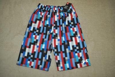 Under Armour Boys Zoom Volley Pixel-Print Swim Shorts 27C66008-60 Red/Ultra Blue