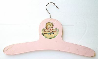 Vintage Pink Child Girl Hanger Clothing Girls Baby Picture Print Small Wooden