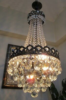 Antique Vnt.French Basket Style Crystal Chandelier Lamp Light 1940's.12 in