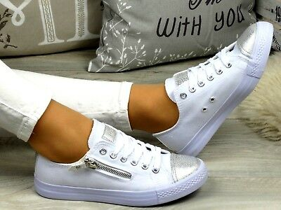 New Ladies Lace Up Zipper Canvas Silver Detail White Comfort Sneakers Trainers