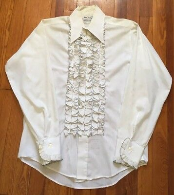 Vintage 70s Lion of Troy 32/33 Men's M White Black Ruffle L/S Tuxedo Prom Shirt