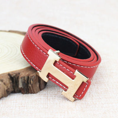 Fashion Casual Children Faux Leather Adjustable Belts For Boys Girls Gift Red