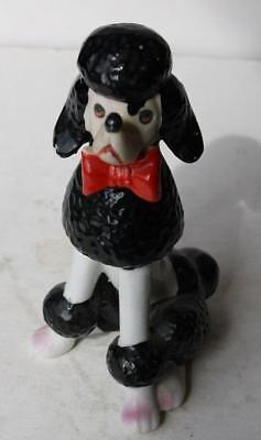 French Poodle Dog Figurine Black-White Red Bow Pink Paws Ceramic Adorable-LOOK