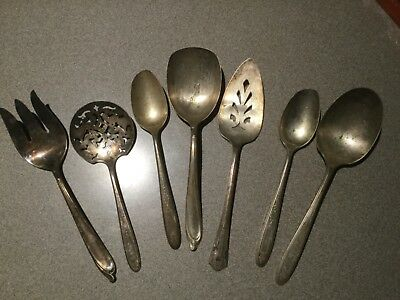 Lot of Vintage Assorted Silver Plate Flatware Serving Pieces