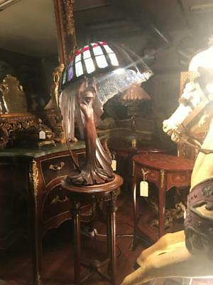 After Peter Behrens (1902)..large Art Nouveau Lady Figural Leadlight Table Lamp