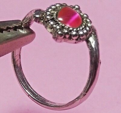 Vintage Signed India Silver Tone Ring With Pink Tiger Eye Coloured Stone 7 Us