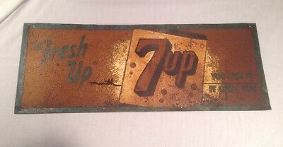 Original Early Vintage Fresh Up with 7up Tin Advertising Sign Rusted Metal