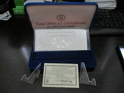 Year 2000 $2 Large Size SILVER CERTIFICATE with .999 PURE SILVER, 1 in 5000