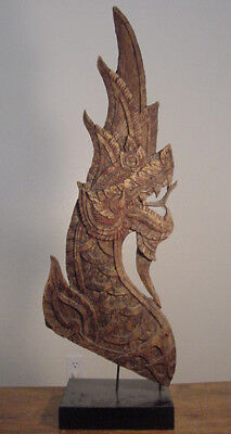 19th Century Thai Monastery Wooden Dragon Carving Buddhist Statue Wall Panel