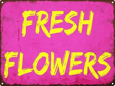 Fresh Flowers Yellow Vintage Look Rustic Garden Metal Sign Retro 9x12 SS126