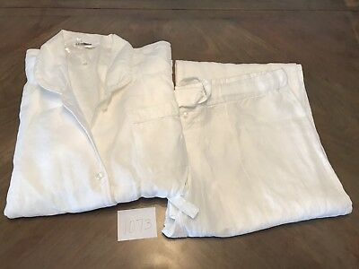 Restoration Hardware Stonewashed Belgian Linen WHITE Pajamas MEDIUM (#1073)