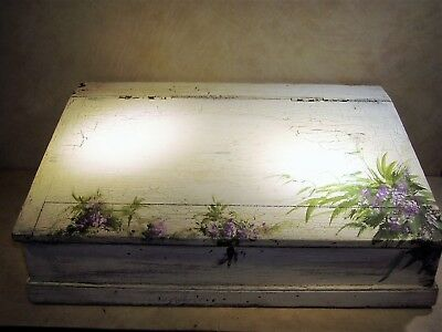 """Antique 1940's Pine Wood Hand Painted Large (23""""x17""""x8"""") Hinged Top Lap Desk"""