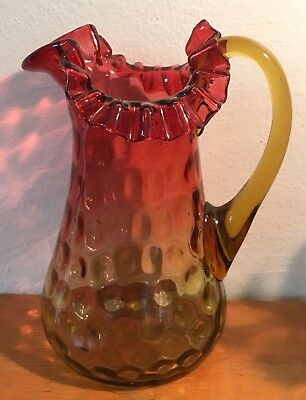 Antique Amberina Ruffled Glass Pitcher Victorian Buy It Now