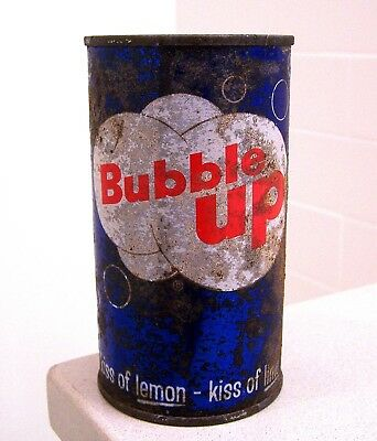 **Rare vintage c. 1960s BUBBLE UP R2 prezip flat top soda can from Peoria Hts IL