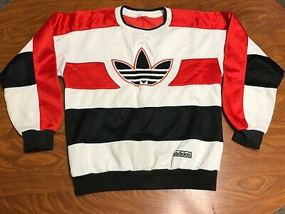 Mens Vintage 80's Adidas Run Dmc Trefoil Logo Rap Hockey Jersey Sweatshirt Small