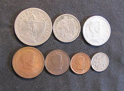 Lot of 7 Chile Coins - 1923 5 Centavos, 1932 20 Centavos, 1933 1 Peso, 1942 50