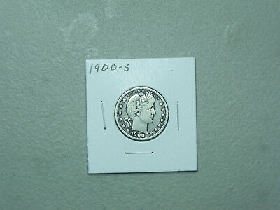 1900-S Barber Silver Quarter  Nice Fine Circulated