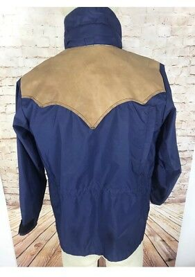 VTG Rocky Mountain Featherbed Co Jacket Blue Gore Tex Leather Yoke Size 8/32