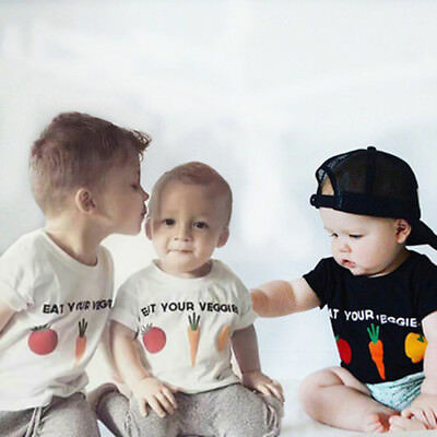 Summer Toddler Baby Kids Boys Girls T Shirts Letter Veggies Print Tops Outfits