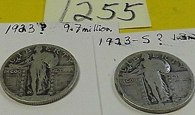 LOT of 2 Standing Liberty silver quarters, 1923 and 19??-S (probably 1923-S )
