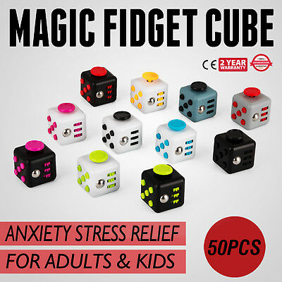 50PCS Magic Fidget Cube Anxiety Stress Relief Gift Adult Kid Lot 6-side Great