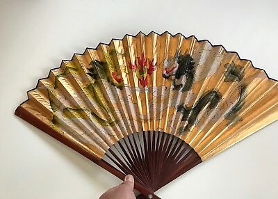 Antique Hand Painted Chinese Twin Dragon Hand Fan