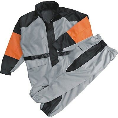 Men's Silver-Black-Orange Rain Suit Water Resistant w/ Reflective Piping *SH2217